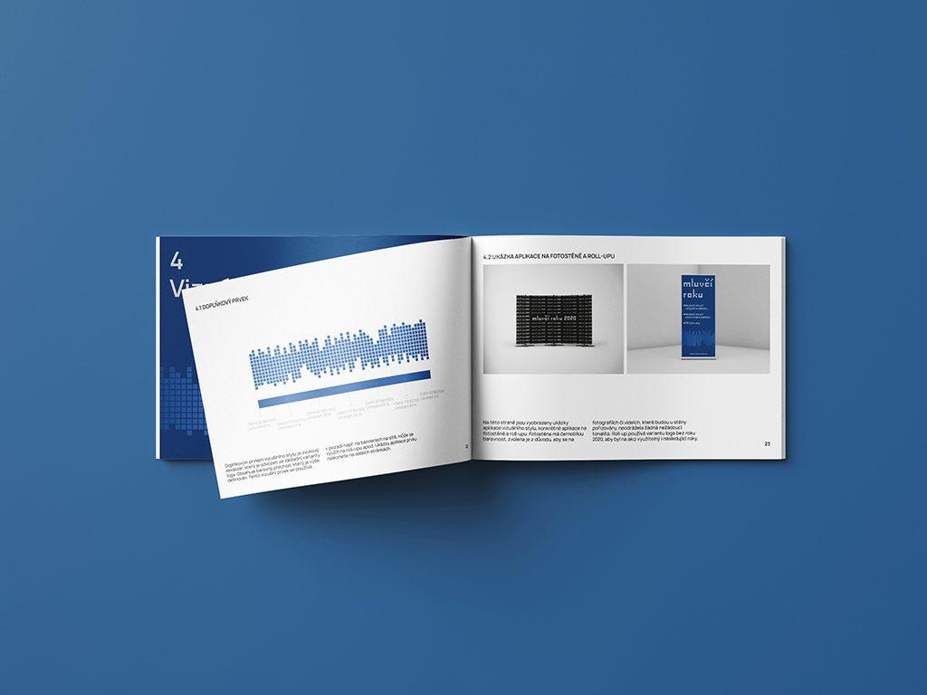 Návrh na grafický manuál Mluvčí roku 2020 roll-up fotostěna