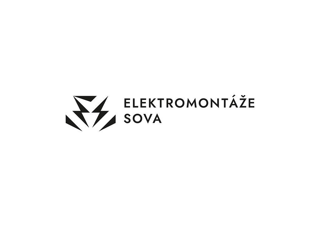 Tvorba loga na míru Elektromontáže Sova horizontální černobílé