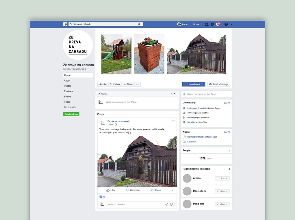 Tvorba vizuálu FB stránky Ze dřeva na zahradu